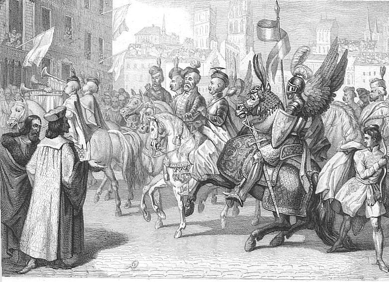 Wjazd polskich senatorów do Paryża w1573 r. Źródło: Antoni Oleszczyński, Wjazd polskich senatorów do Paryża w1573 r., XIX w., domena publiczna.
