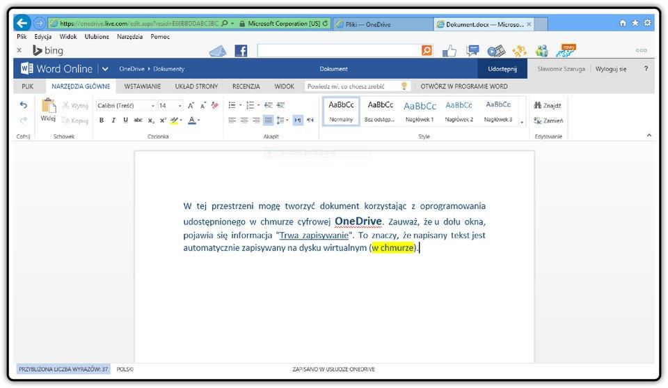 Zrzut dokumentu utworzonego wprogramie udostępnionym wchmurze cyfrowej OneDrive