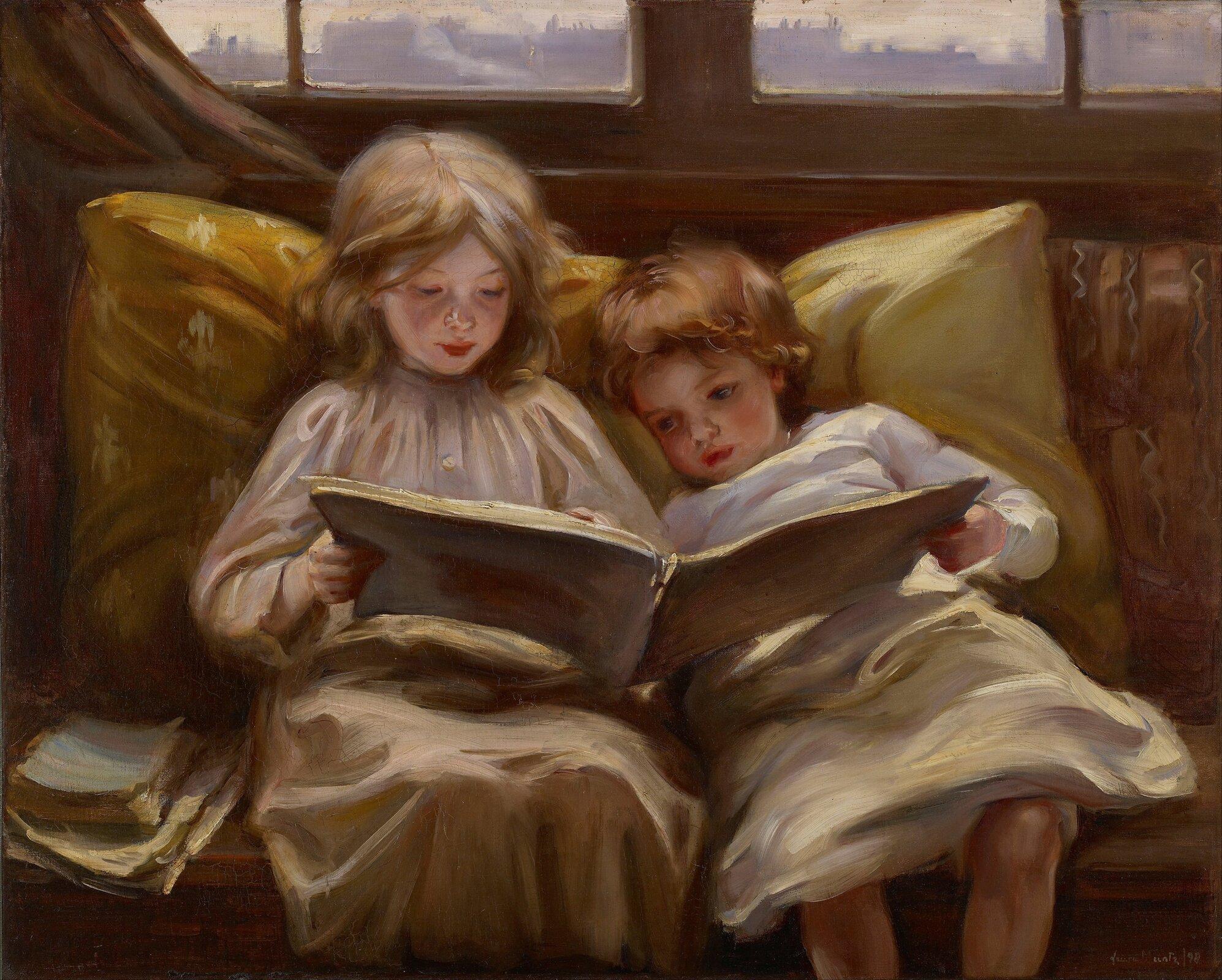 Ciekawa opowieść Źródło: Laura Muntz Lyall, Ciekawa opowieść, 1898, olej na płótnie, Art Gallery of Ontario, domena publiczna.