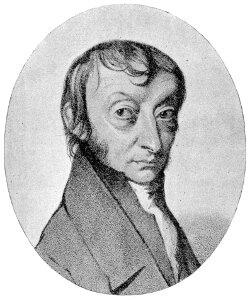 Litograficzny portret Amedeo Avogadro na bazie rysunku autorstwa C. Sentiera.