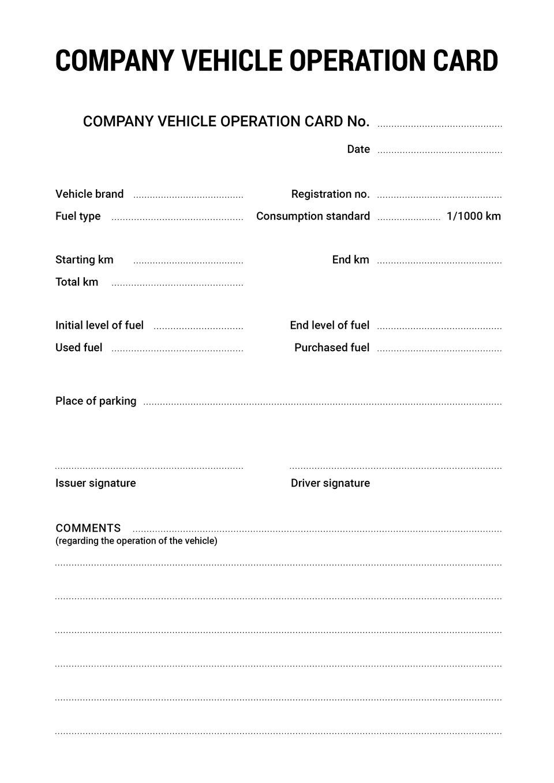 The document shows acompany vehicle operation card. Dokument przedstawia kartę eksploatacji pojazdu służbowego.