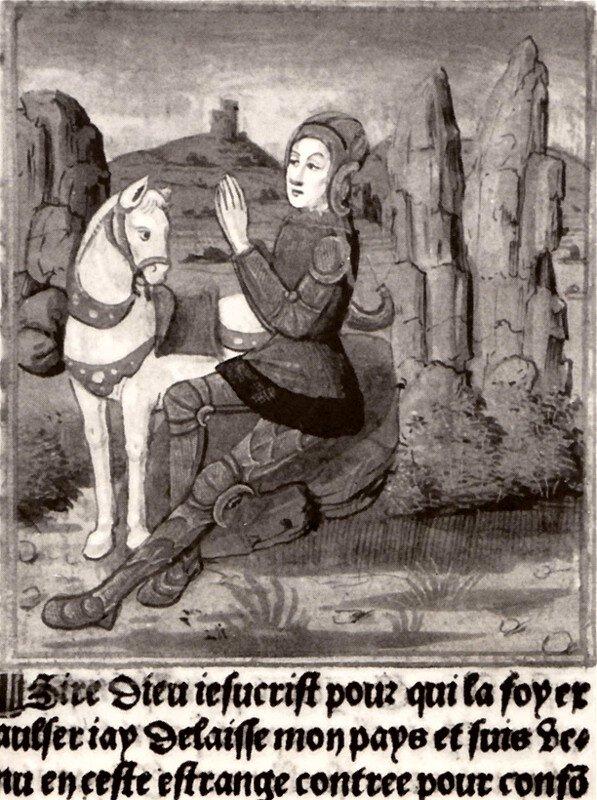 Roland modli się przed śmiercią, [w:] Wielkie Kroniki Francji Roland modli się przed śmiercią, [w:] Wielkie Kroniki Francji Źródło: 1493, domena publiczna.