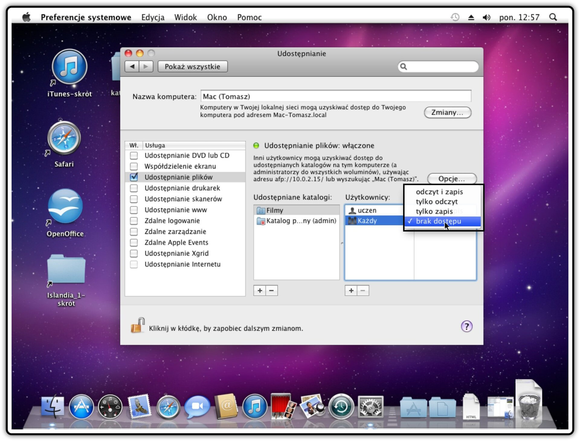 Ilustracja przedstawiająca: Krok 4 udostępniania innych katalogów wsystemie Mac OS X
