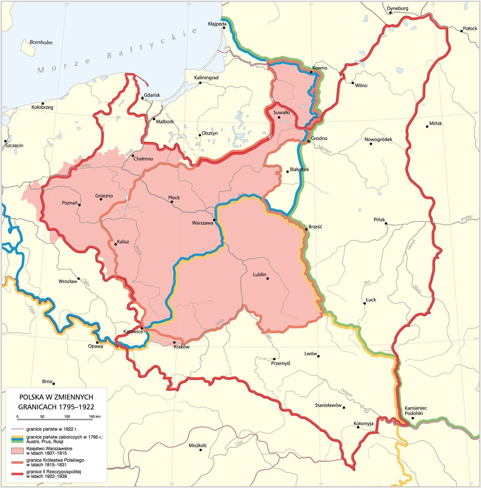 Granice Polski 1795–1922 Granice Polski 1795–1922 Źródło: Krystian Chariza izespół, licencja: CC BY 3.0.