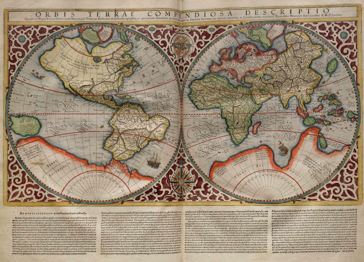 na zdjęciu przedstawiona została mapa świata zXVI w. po odkryciach geograficznych