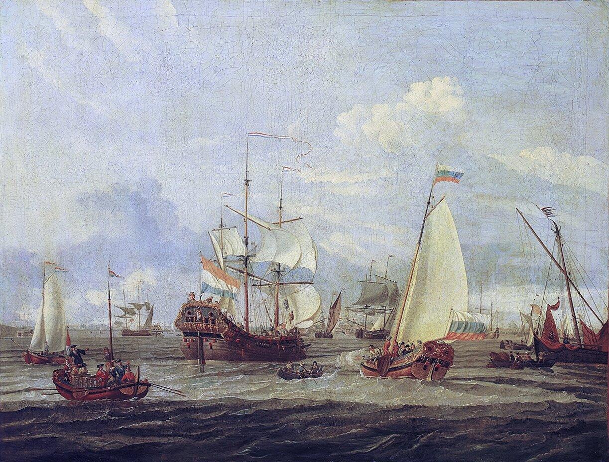 Inspekcja statków pod Amsterdamem Obraz Abrahama Storcka (1644-1708) pokazujący inspekcję statkówpod Amsterdamem przeprowadzoną przez Piotra I. Obecnie płótno znajduje się wNarodowym Muzeum Morskim wLondynie. Źródło: Abraham Storck, Inspekcja statków pod Amsterdamem, ok. 1700, olej na płótnie, National Maritime Museum, domena publiczna.