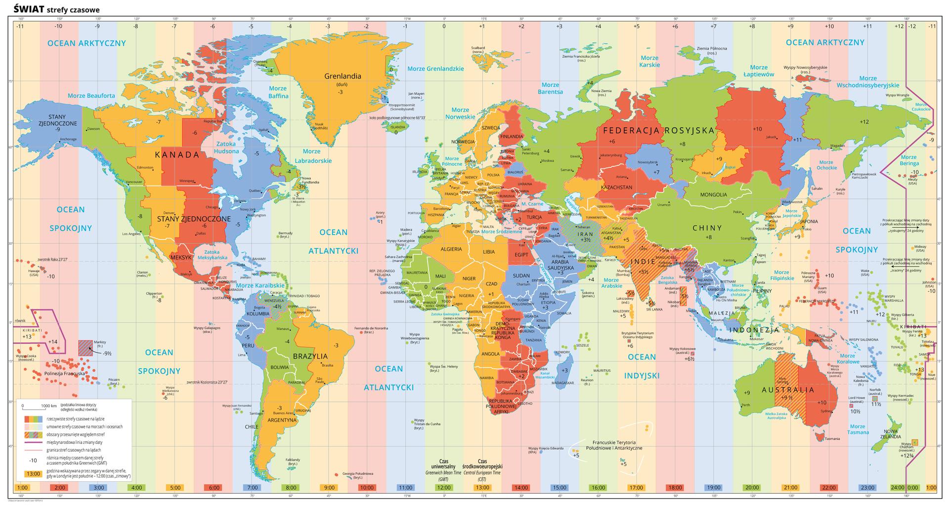Ilustracja przedstawia mapę świata. Opisano państwa, morza ioceany. Na mapie za pomocą kolorów przedstawiono strefy czasowe obejmujące pasy oszerokości piętnaście stopni. Kolory nasycone przedstawiają strefy czasowe na lądzie, akolory rozbielone – strefy czasowe na morzach ioceanach. Kreskowaniem wyróżniono obszary przesunięte względem stref. Przebieg stref czasowych na morzach ioceanach jest równomierny, na lądach wniewielu miejscach pokrywa się wcałości ze strefą czasową przedstawioną na morzu. Fioletową linią oznaczono linię zmiany daty, przebiega ona na Oceanie Spokojnym pomiędzy Ameryką Północną aAzją. Wkażdym państwie zapisano różnicę między czasem danej strefy aczasem południka Greenwich. Na dole każdej strefy zapisano godzinę wskazywaną przez zegary wdanej strefie, gdy wLondynie jest południe – godzina dwunasta czasu zimowego. Mapa pokryta jest równoleżnikami ipołudnikami.