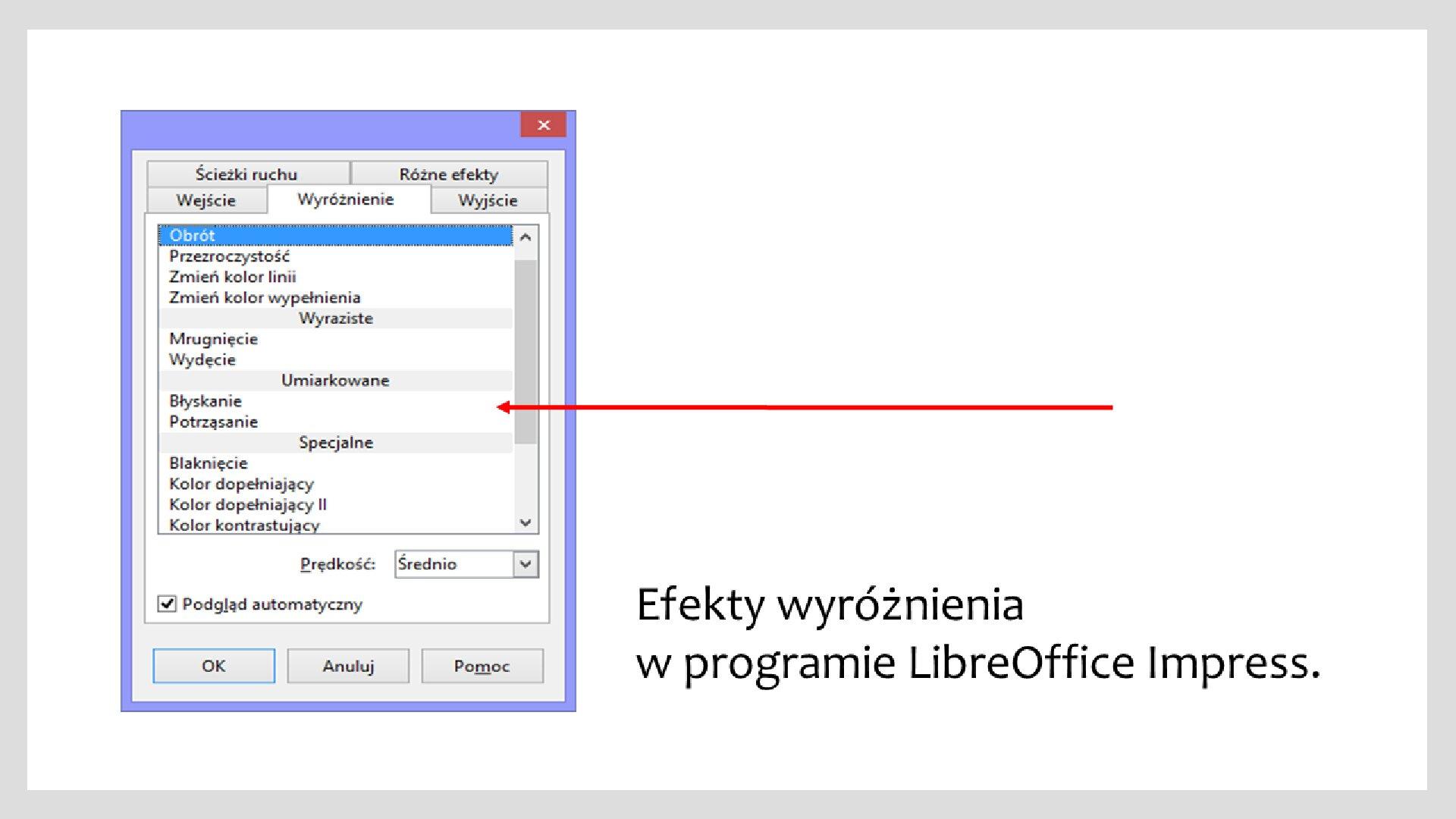 Slajd 1 galerii zrzutów okien zefektami wyróżnienia iwyjścia wprogramie LibreOffice Impress