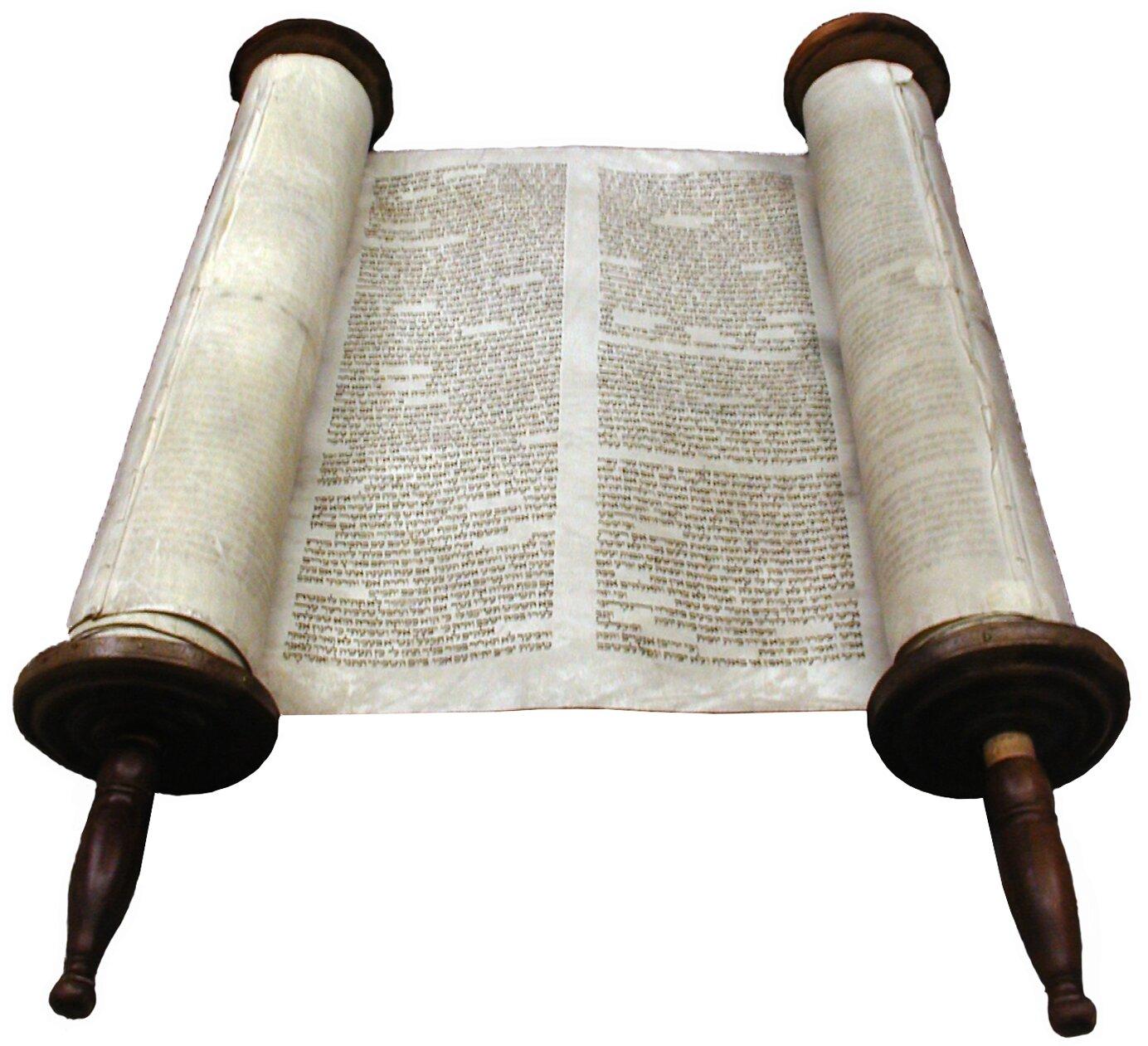 Tora – pięćpierwszych ksiąg Starego Testamentu,najważniejszy tekst judaizmu Tora – pięćpierwszych ksiąg Starego Testamentu,najważniejszy tekst judaizmu Źródło: Willy Horsch, Wikimedia Commons, licencja: CC BY 3.0.
