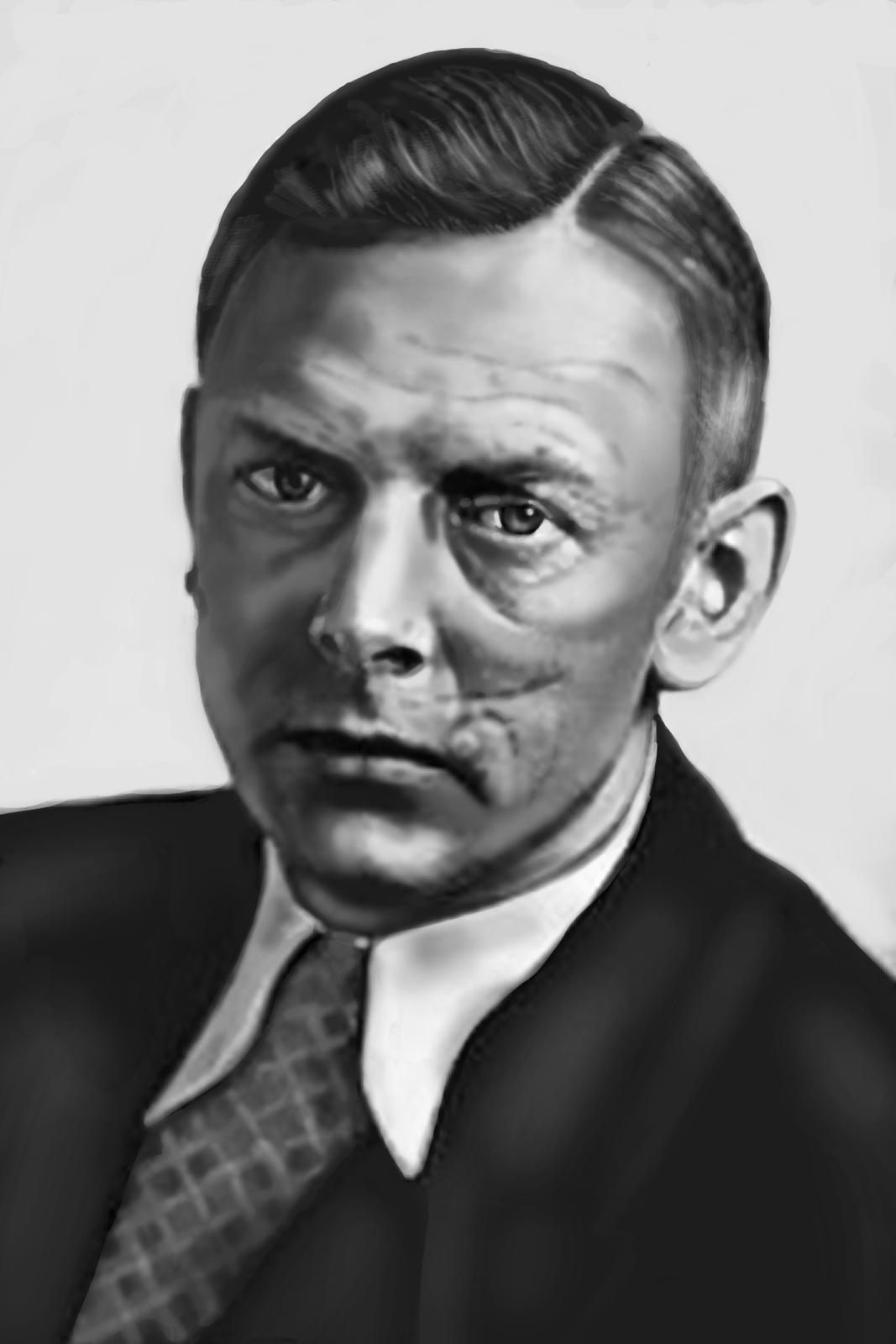 Czarnobiałe malowidło wykonane na bazie fotografii Adolfa Butenandta