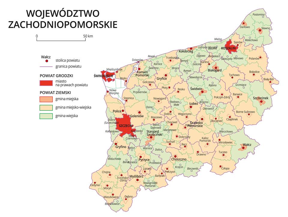 Mapa województwa zachodniopomorskiego. Na mapie fioletowymi liniami zaznaczono granice powiatów ziemskich, dużymi czerwonymi kropkami zaznaczono miasta będące stolicami powiatów. Wobrębie powiatów ziemskich kolorami wyróżniono gminy miejskie, miejsko-wiejskie iwiejskie. Czerwonym kolorem wyróżniono powiaty grodzkie zmiastami na prawach powiatu, miasta te opisano dużymi literami.