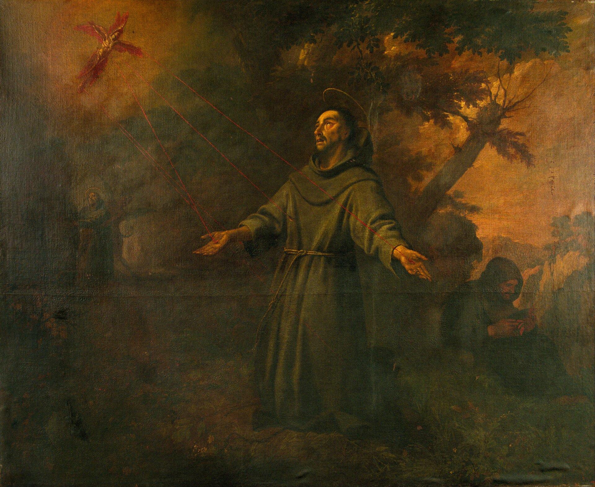 Święty Franciszek otrzymuje stygmaty Źródło: Antoni Viladomat YManalt, Święty Franciszek otrzymuje stygmaty, 1724–1733, domena publiczna.
