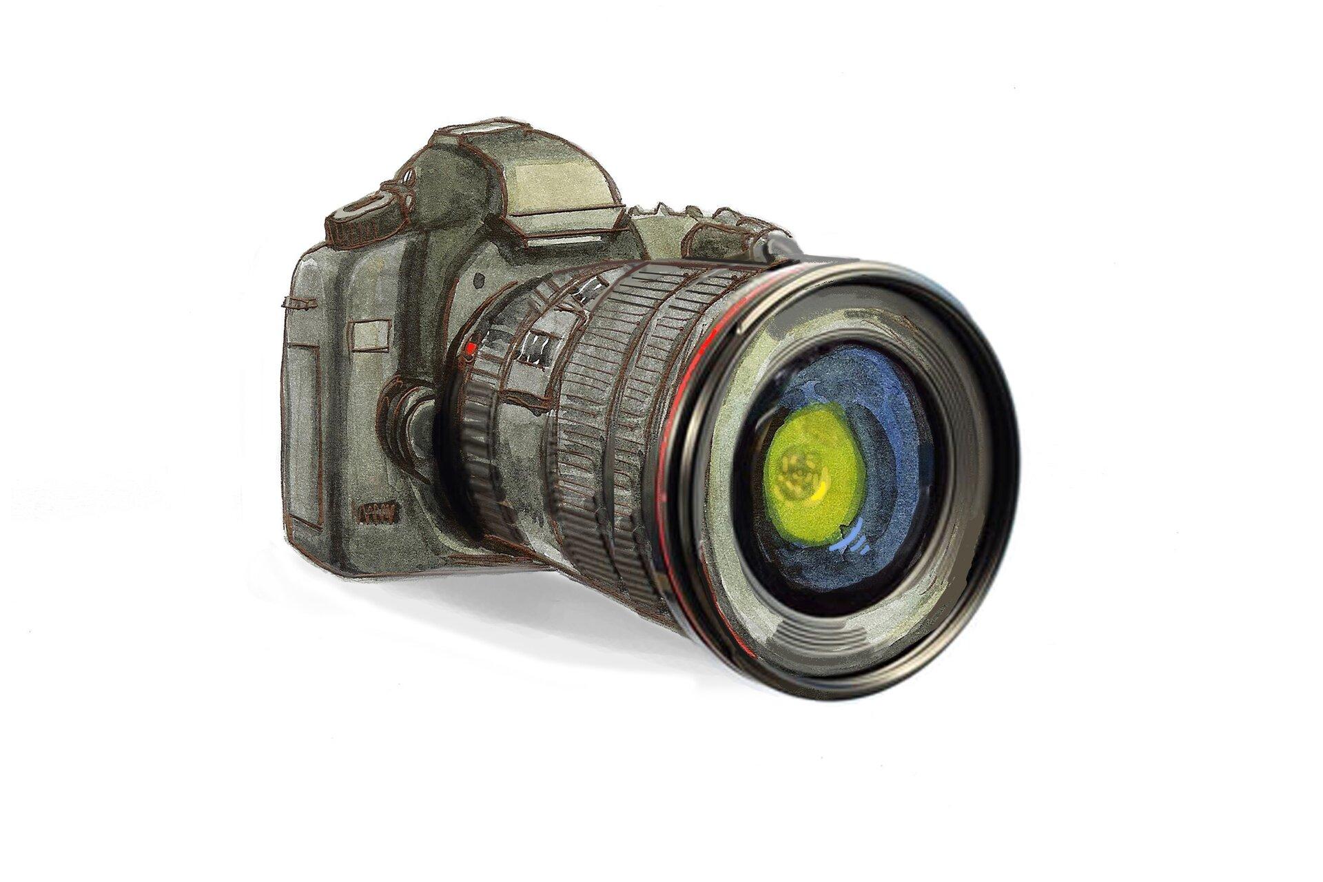 Ilustracja przedstawiajaca aparat fotograficzny