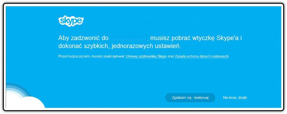 Zrzut okna Skype zkomunikatem opobraniu wtyczki