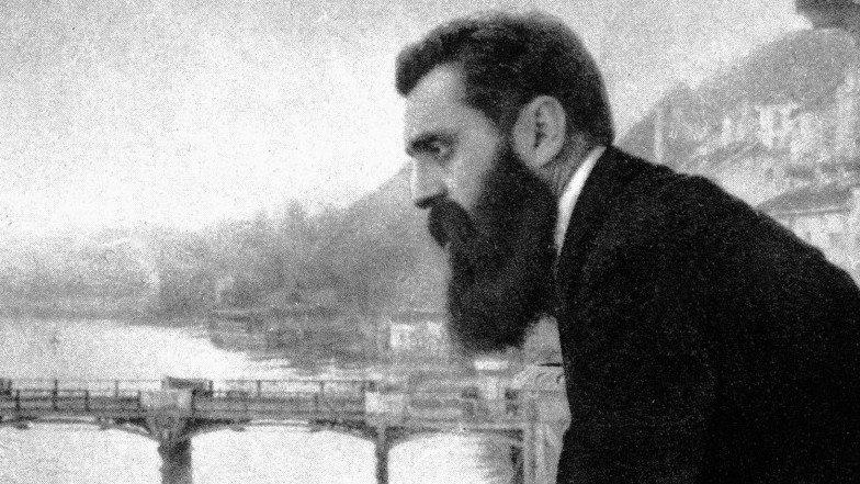 Teodor Herzl, ojciec duchowy państwa żydowskiego Źródło: E. M. Lilien, Teodor Herzl, ojciec duchowy państwa żydowskiego, domena publiczna.