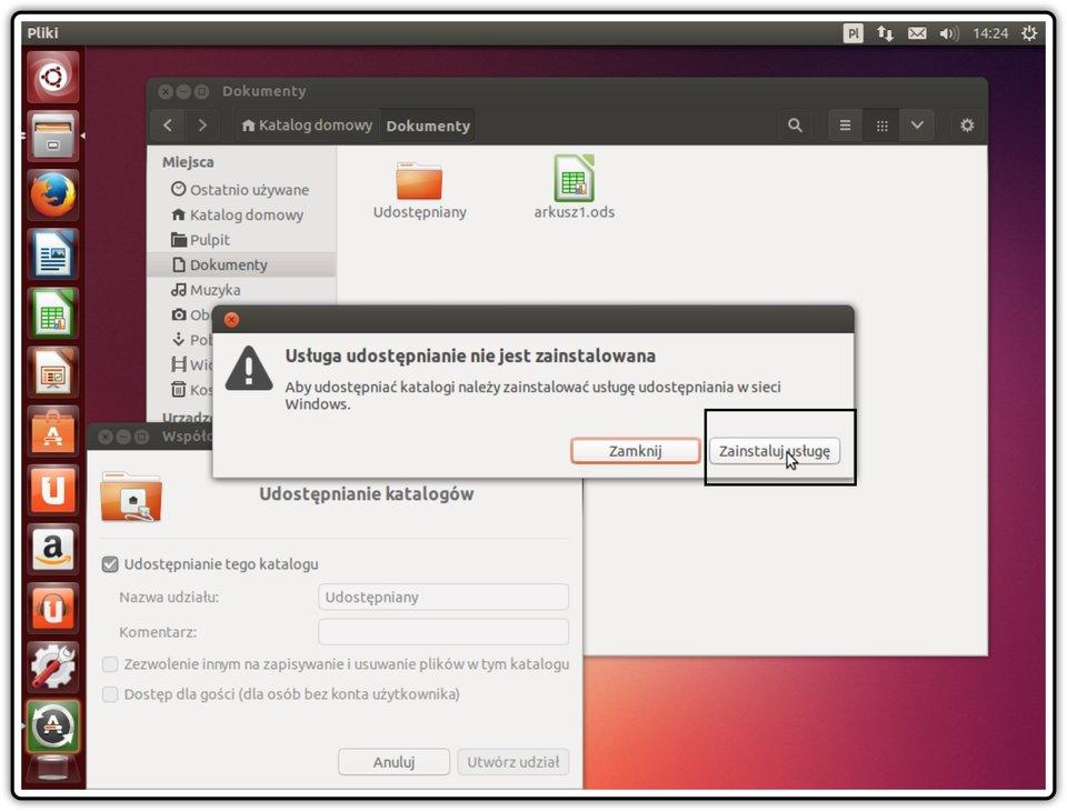 Ilustracja przedstawiająca: Krok 3 udostępniania zasobów wsystemie Linux Ubuntu
