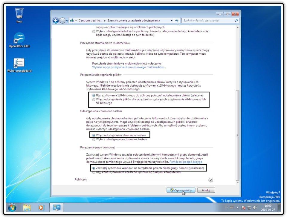 Ilustracja przedstawiająca: Krok 6 konfigurowania ustawień udostępniania wsystemie Windows
