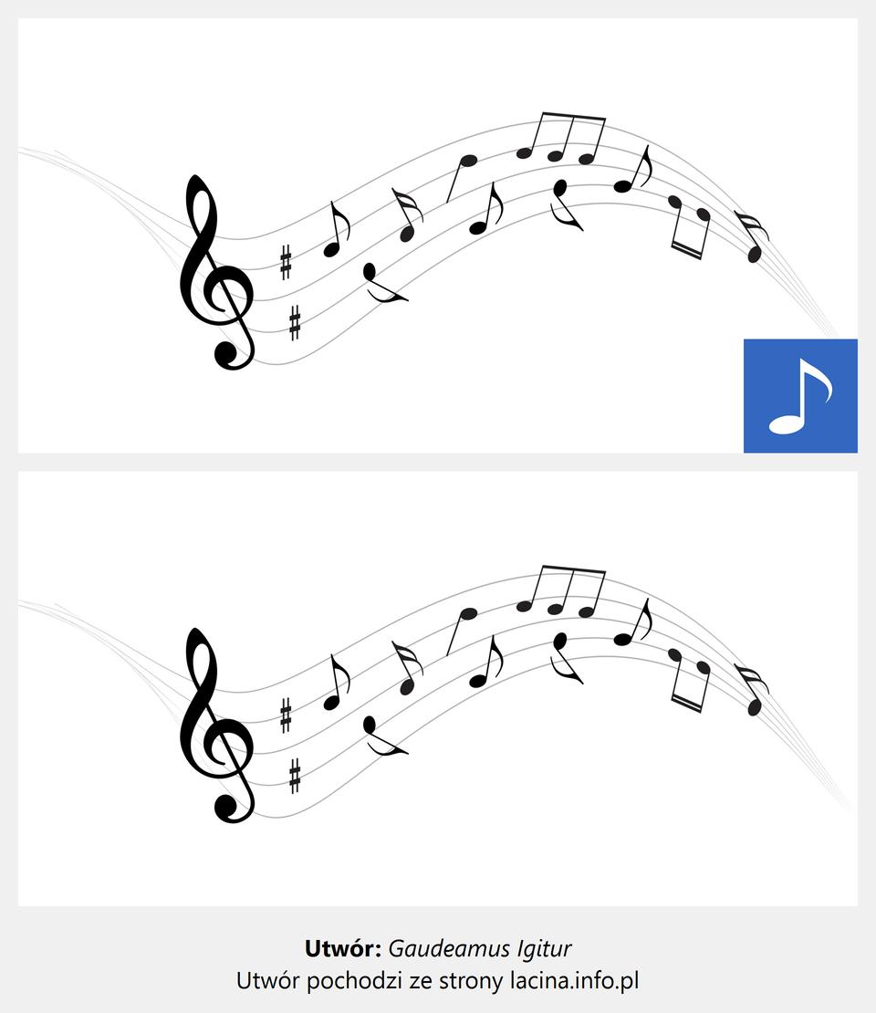 """Ilustracja interaktywna przedstawia pięciolinię wygiętą wkształcie fali, na której znajduje się zapis nutowy. Dodatkowo zamieszczono utwór muzyczny """"Gaudeamus igitur"""". Pieśń wykonywana jest przez chór przy akompaniamencie pianina. Utwór cechuje się szybkim tempem oraz żywiołowym, radosnym charakterem."""