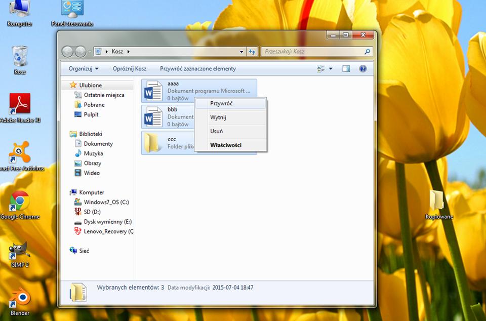Animacja: Przywracanie plików wsystemie Windows
