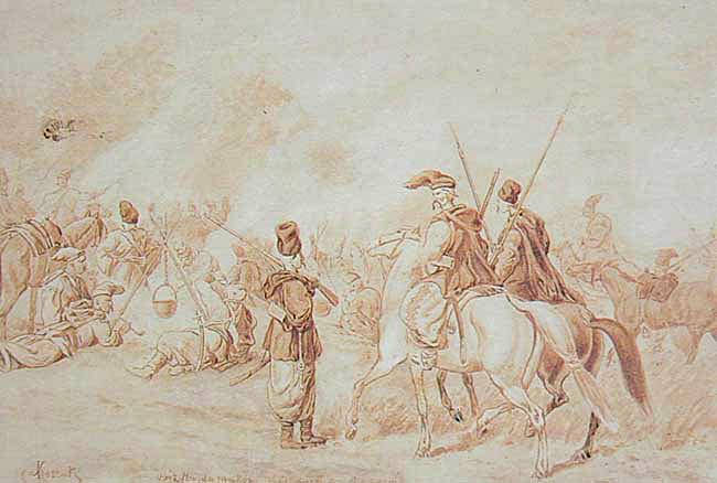 Obóz hajdamacki Obózhajdamacki – rysunek Juliusza Kossaka (1824-1899). Źródło: Juliusz Kossak, Obóz hajdamacki, przed 1899, domena publiczna.