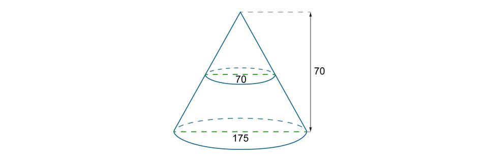 Rysunek stożka ośrednicy podstawy równej 175 iwysokości równej 70. Zaznaczony przekrój poprzeczny stożka ośrednicy równej 70.