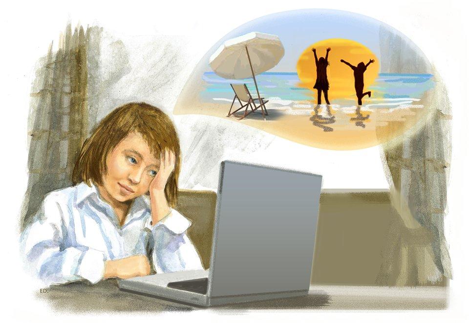 Ilustracja przedstawiająca dziewczynkę, która siedzi przed komputerem imarzy owakacjach