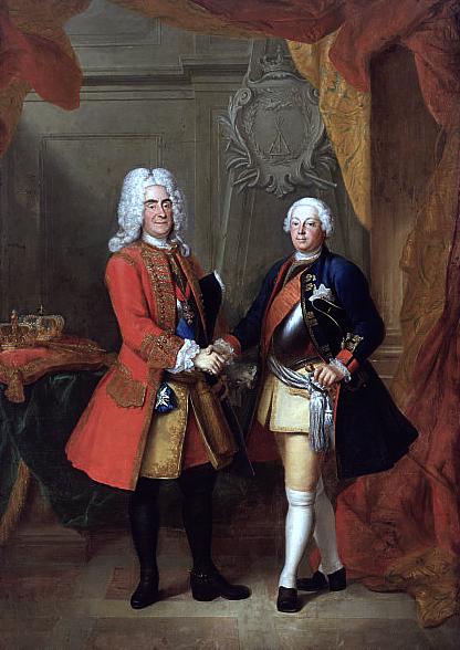 August II, król Polski iFriedrich Wilhelm I, król Prus Źródło: Louis de Silvestre, August II, król Polski iFriedrich Wilhelm I, król Prus, przed 1733, domena publiczna.