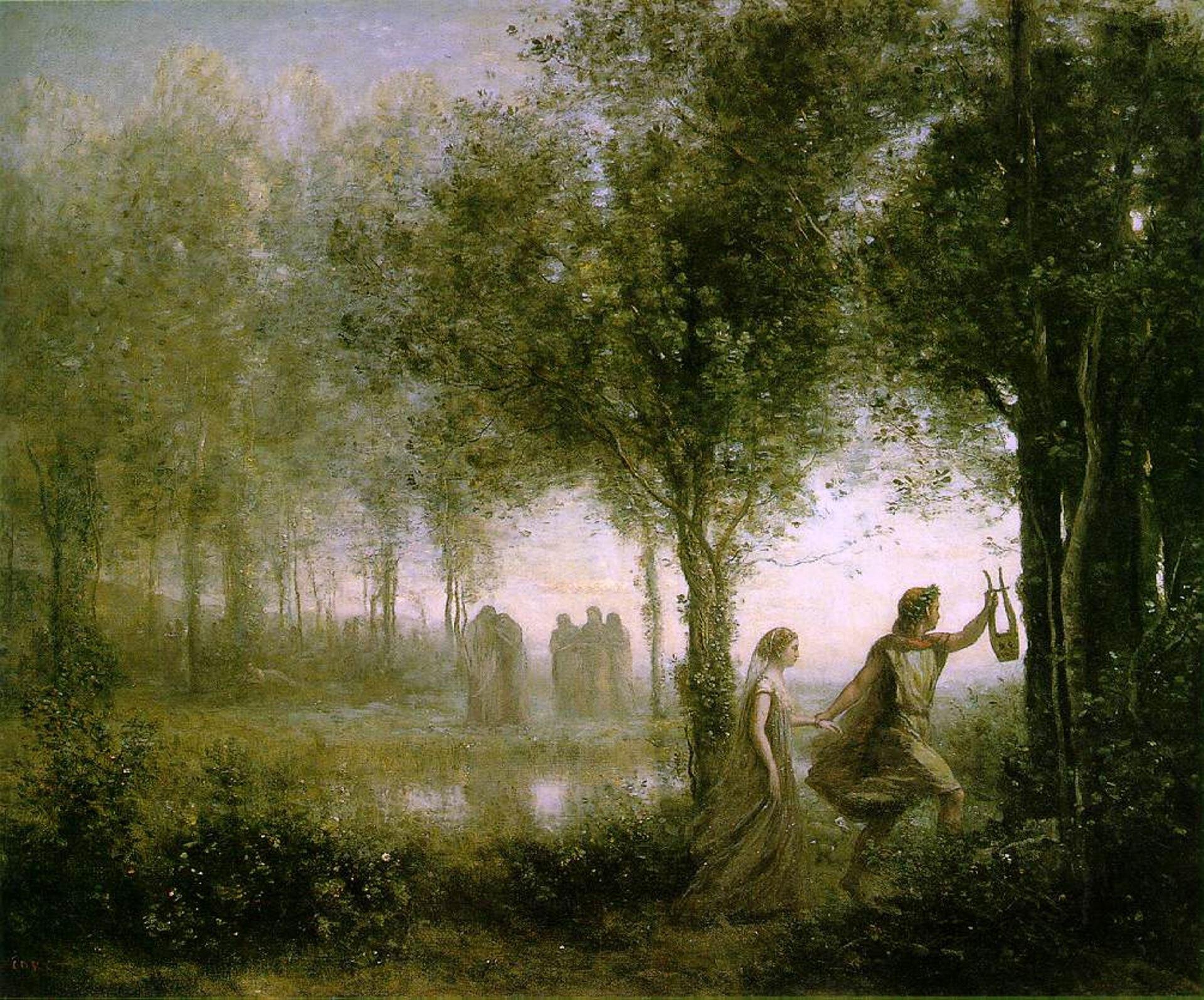 """lustracja przedstawia obraz Jean-Baptiste-Camille Corot'a pt. """"Orfeusz wyprowadzający Eurydykę zpodziemi"""". Obraz utrzymany jest wciemnej tonacji, zprzewagą zieleni. Wprawym dolnym rogu widnieją dwie postaci: przodem kroczy mężczyzna wjasnej zwiewnej szacie, zwieńcem laurowym na głowie ilirą wręku. Drugą ręką trzyma kobietę, która podąża za nim. Ubrana jest wcienką długą suknię, na głowie ma welon. Wcentrum obrazu widnieje podmokły teren (bagno?); dookoła rosną drzewa ikrzaki. Wdali stoją dwie grupy smętnych postaci."""