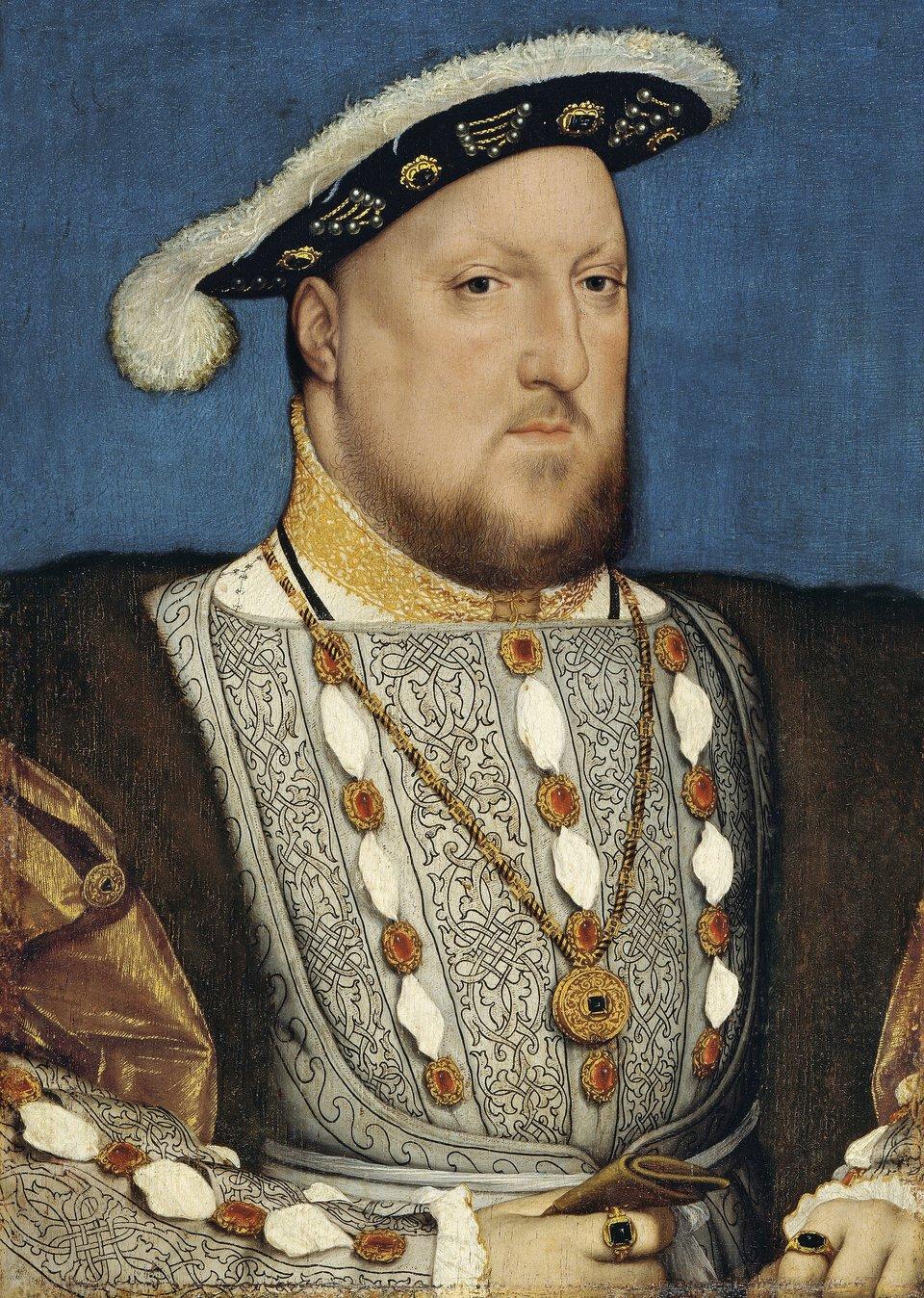 Henryk VIII Tudor Źródło: Hans Holbein, Henryk VIII Tudor, ok. 1537, olej na desce, Muzeum Thyssen-Bornemisza, domena publiczna.