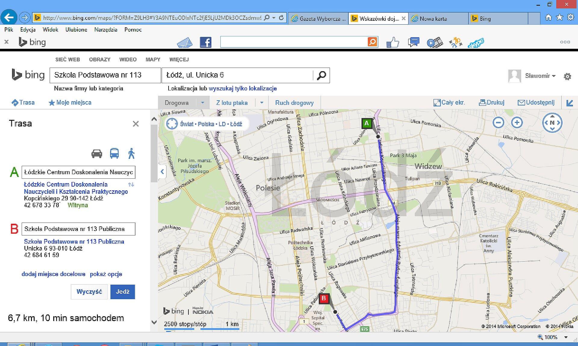 Zrzut fragmentu mapy zzaznaczoną trasą wwyszukiwarce Bing