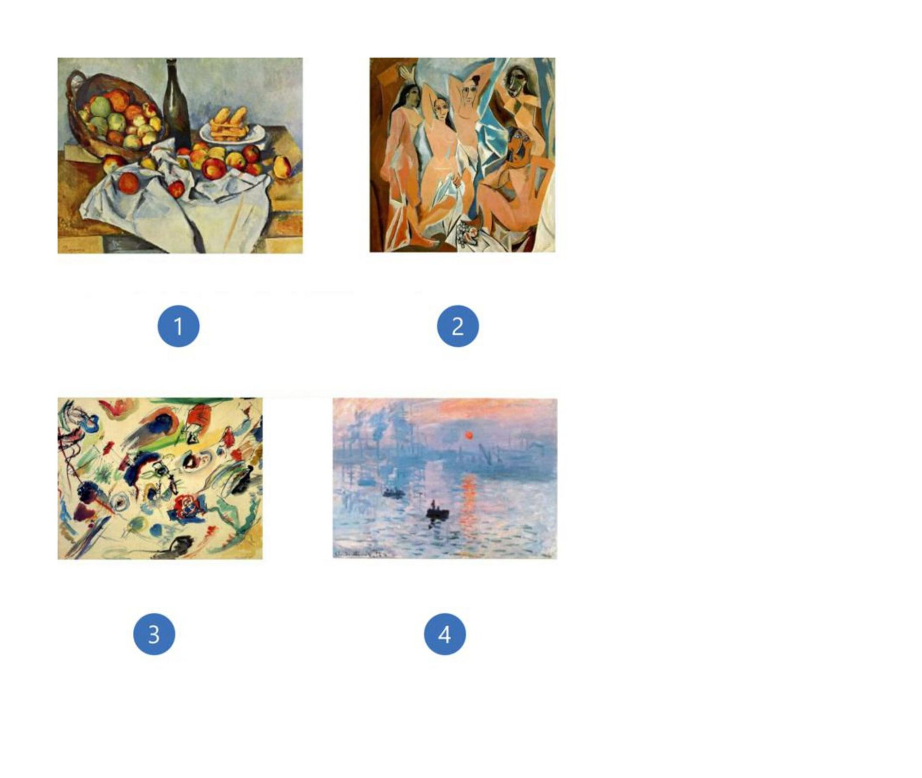 1. Paul Cézanne, Kosz jabłek, 1895, Instytut Sztuki wChicago, Chicago, USA 2. Pablo Picasso, Panny zAwinionu, 1907, Muzeum Sztuki Nowoczesnej (MoMA), Nowy Jork, USA 3. Wassily Kandinsky, bez tytułu (Pierwsza abstrakcja), 1910, Georges Pompidou Centre, Paryż, Francja 4. Claude Monet, Impresja, wschód słońca, 1872, Musée Marmottan Monet, Paryż, Francja