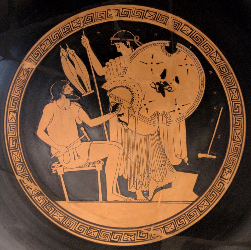 Hefajstos iTetyda Hefajstos iTetyda Źródło: Vw. p.n.e, kyliks czerwonofigurowy, Kolekcja Klasycznej Starożytności Berlin, domena publiczna.