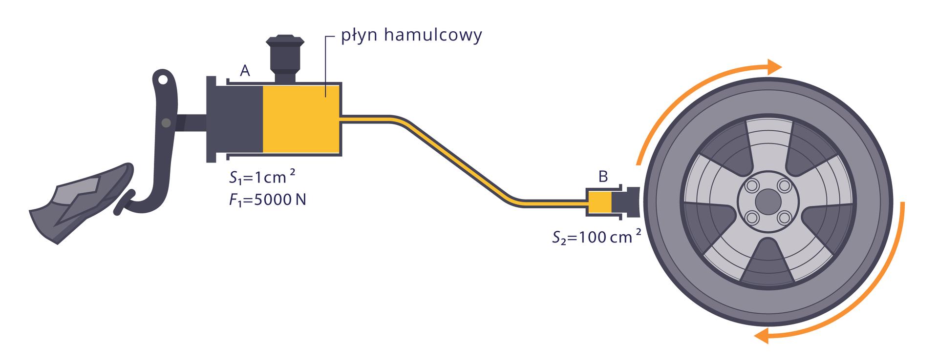 Uproszczony schemat hydraulicznego układu hamulcowego – dwa przekroje oróżnych polach powierzchni. Zaznaczona siła nacisku na mniejszą powierzchnię (tłoczek). Powierzchnie tłoków isiła opisane. Dane do opisu: (S1=1cm2 , S2=100cm2 , F1=50N)Ponadto zaznaczone dwa punkty: punkt Atuż pod powierzchnią tłoka opolu S1 oraz punkt Bpod powierzchnią tłoka opolu S2.Celem jest graficzna forma prezentacji danych do obliczeń zzastosowaniem prawa Pascal.