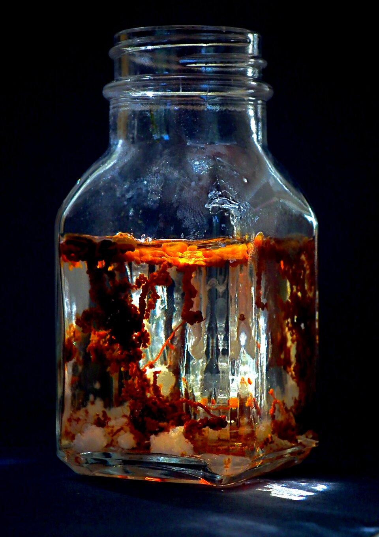 Zdjęcie przedstawia przezroczystą butelkę okwadratowym przekroju wypełnioną cieczą zdziwacznymi, barwnymi kształtami ipnączami. Zawartość wygląda jak wodorosty, lecz wrzeczywistości jest efektem przeprowadzonego doświadczenia chemicznego.