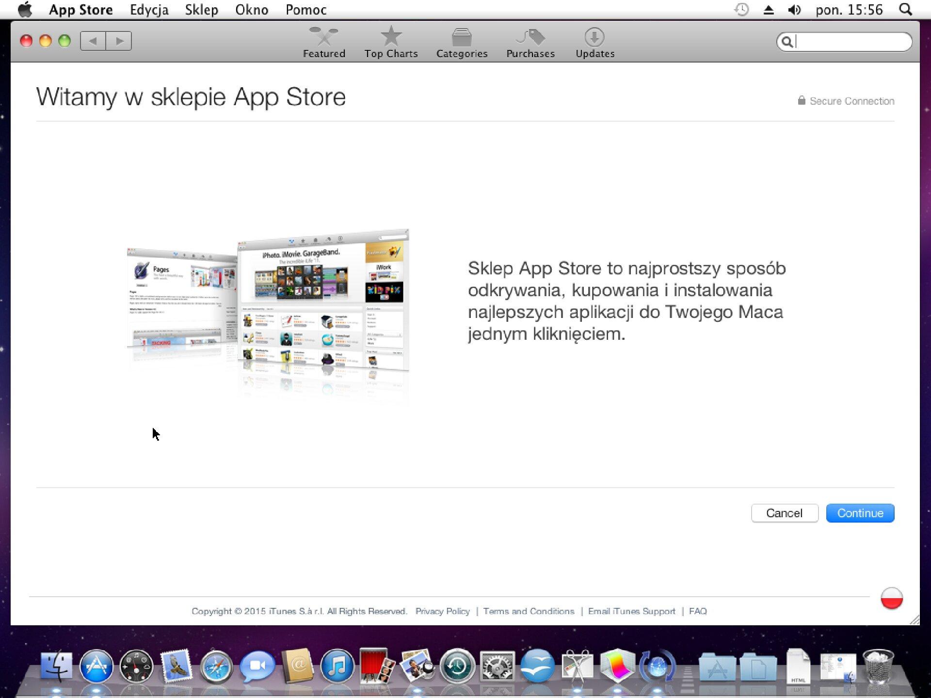 Zrzut okna sklepu App Store wsystemie Mac OS X