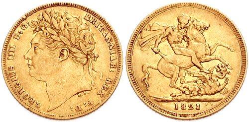Suweren zwizerunkiem Jerzego IV z1821 r. Źródło: Classical Numismatic Group, Inc, Suweren zwizerunkiem Jerzego IV z1821 r., licencja: CC BY-SA 3.0.