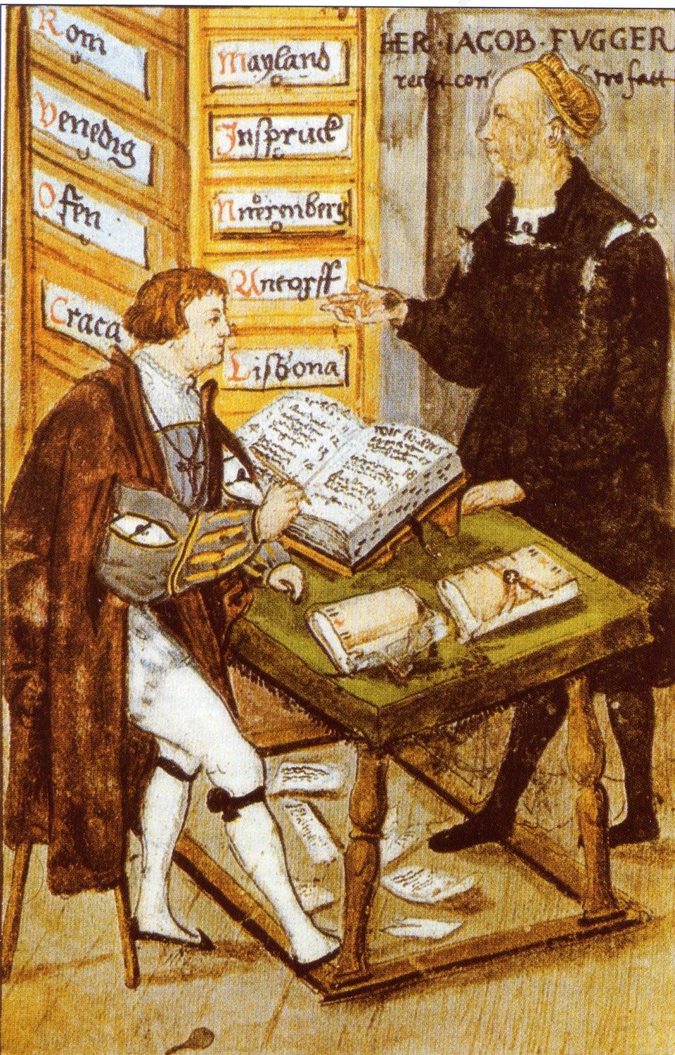 Fuggerowie: Hans Fugger Bogaty wswoim kantorze wAugsburgu Fuggerowie: Hans Fugger Bogaty wswoim kantorze wAugsburgu Źródło: 1517, domena publiczna.