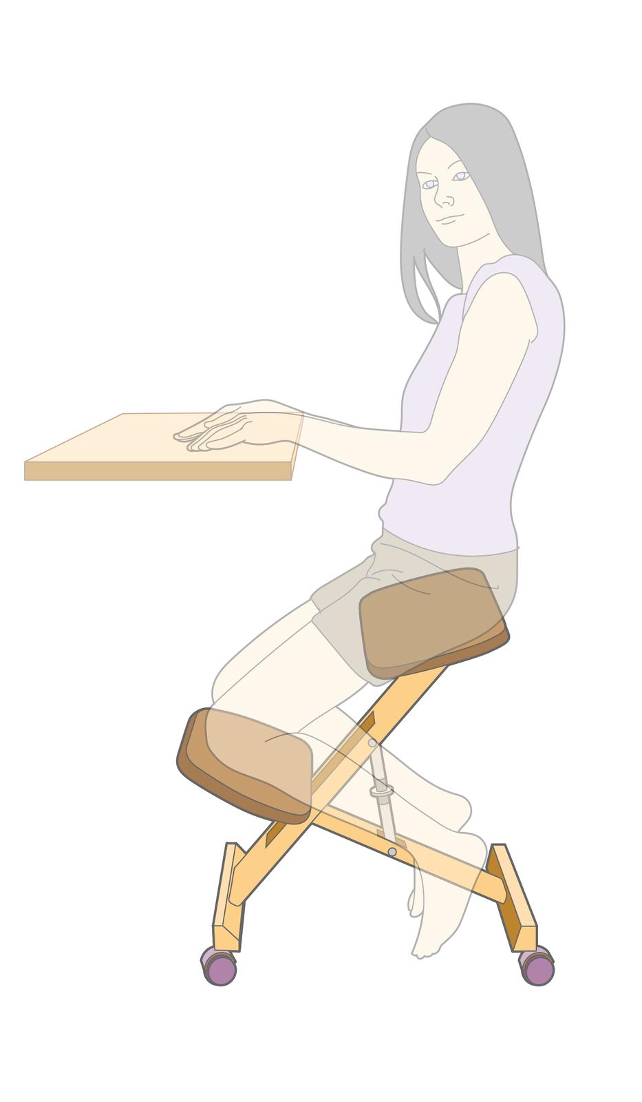 Ilustracja przedstawia klękosiad - mebel do siedzenia pozwalający utrzymać najkorzystniejszą postawę ciała.