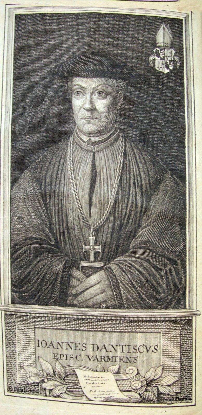 Jan Dantyszek jako biskup warmiński wg drzeworytu zXVIII w. Źródło: Jan Dantyszek jako biskup warmiński wg drzeworytu zXVIII w., 1764, domena publiczna.
