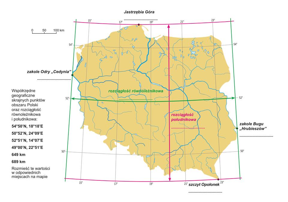 Na ilustracji mapa Polski, zaznaczono skrajne punkty, kolorowymi liniami oznaczono skrajne południki irównoleżniki, astrzałkami wskazano rozciągłość południkową irównoleżnikową.