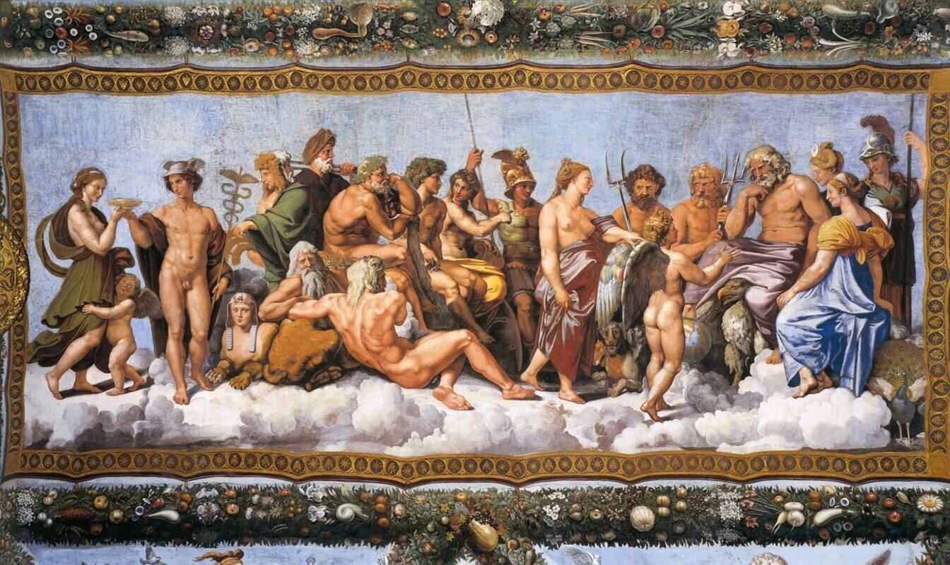 Rada bogów Źródło: Rafael Santi, Rada bogów, 1517–1518, fresk, Villa Farnesina, Włochy, domena publiczna.