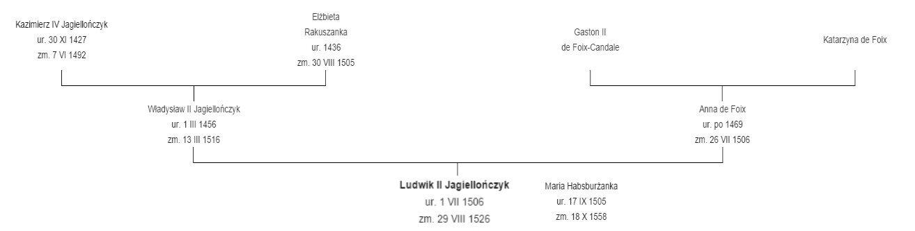 Jagiellonowie - drzewo genealogiczne Ludwika II, króla Czech iWęgier Drzewo genealogiczne Ludwika II, króla Czech iWęgier. Źródło: Jagiellonowie - drzewo genealogiczne Ludwika II, króla Czech iWęgier, domena publiczna.
