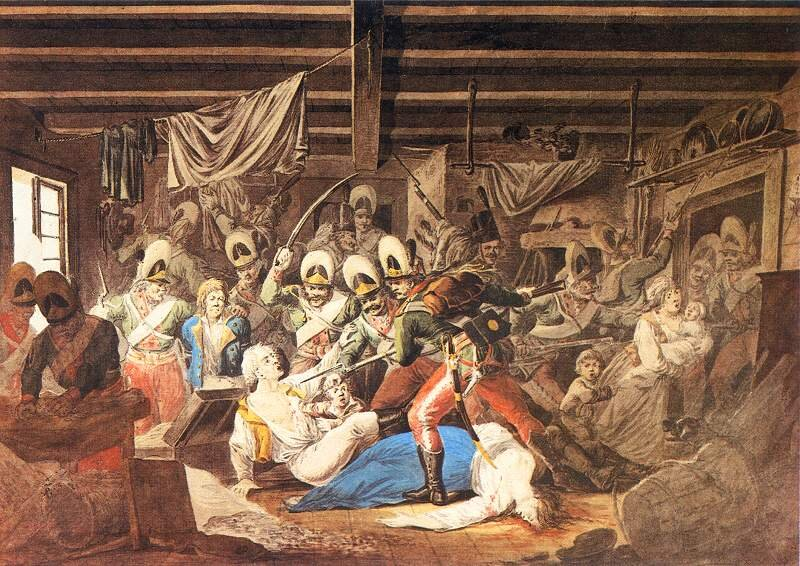 Rzeź Pragi na obrazie Aleksandra Orłowskiego z1810 roku. Ludzie konający wstraszliwych mękach. Kobiety bezbronne iwystawione na żądzę żołdaków.