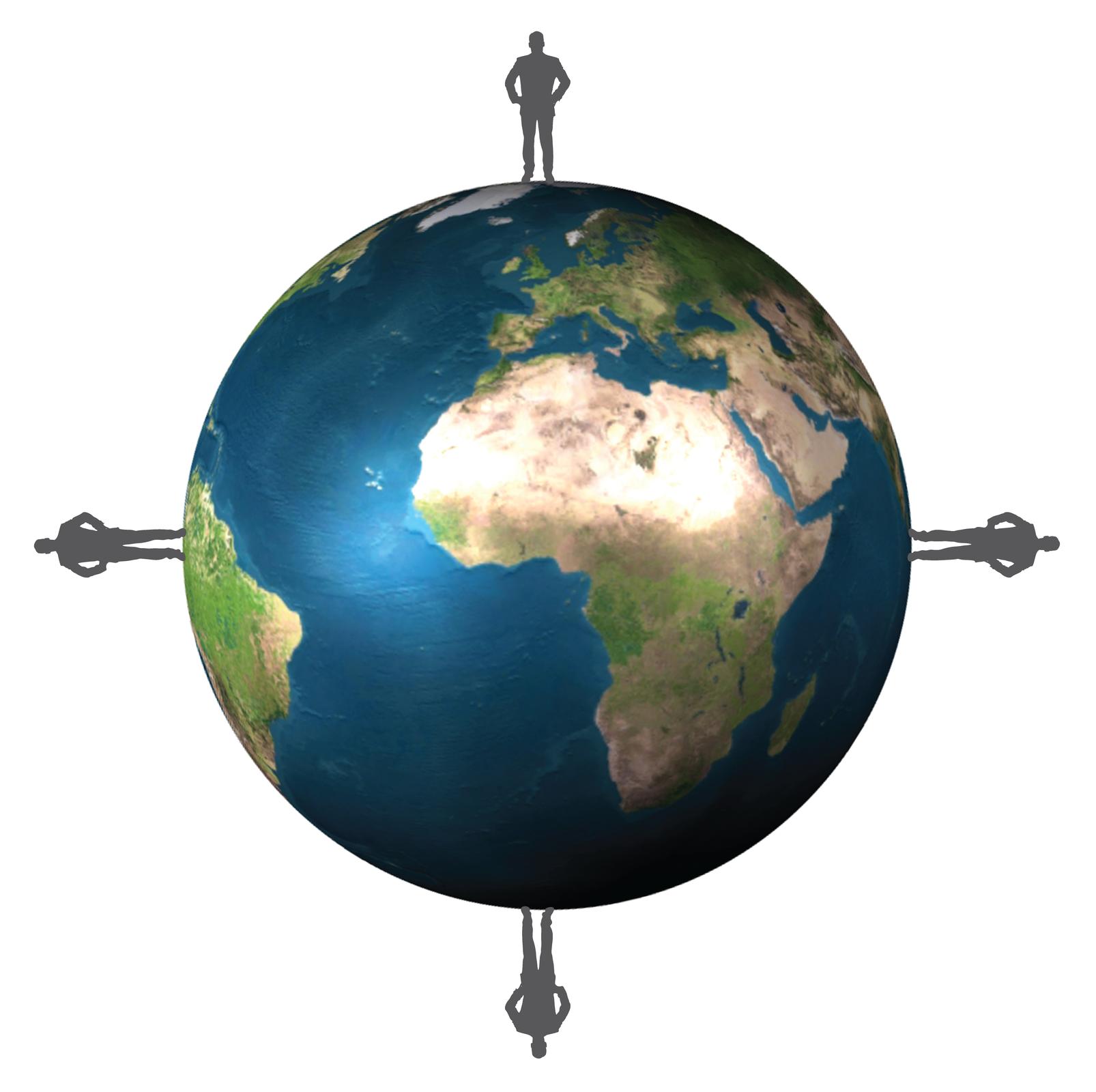 Ilustracja prezentuje kulę ziemską, na której stoją cztery sylwetki człowieka umiejscowione wpunktach północ (góra) , południe (dół), wschód, (prawo) zachód (lewo)