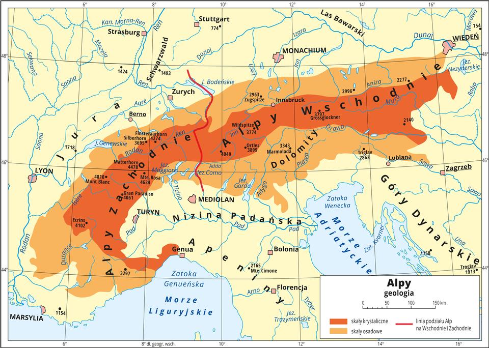 Ilustracja przedstawia mapę Alp. Tło kontynentu wkolorze żółtym, morza niebieskie. Kolorami rozróżniono skały budujące Alpy. Kolorem ciemnopomarańczowym przedstawiono skały krystaliczne, akolorem jasnopomarańczowym – skały osadowe. Skały krystaliczne budują wewnętrzną część gór, skały osadowe położone są na zewnątrz pasma. Czerwona linia oddziela Alpy Zachodnie od Alp Wschodnich. Na mapie opisano główne formy ukształtowania powierzchni Ziemi, miasta, morza, zatoki, rzeki ijeziora. Mapa pokryta jest równoleżnikami ipołudnikami. Dookoła mapy wbiałej ramce opisano współrzędne geograficzne co dwa stopnie. Wlegendzie przedstawiono iopisano znaki użyte na mapie.