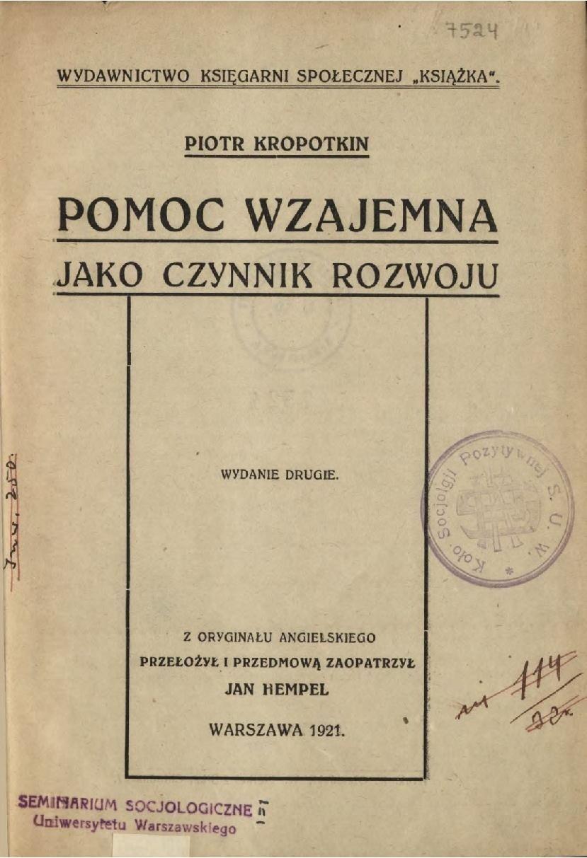 Okładka książki Piotra Kropotkina