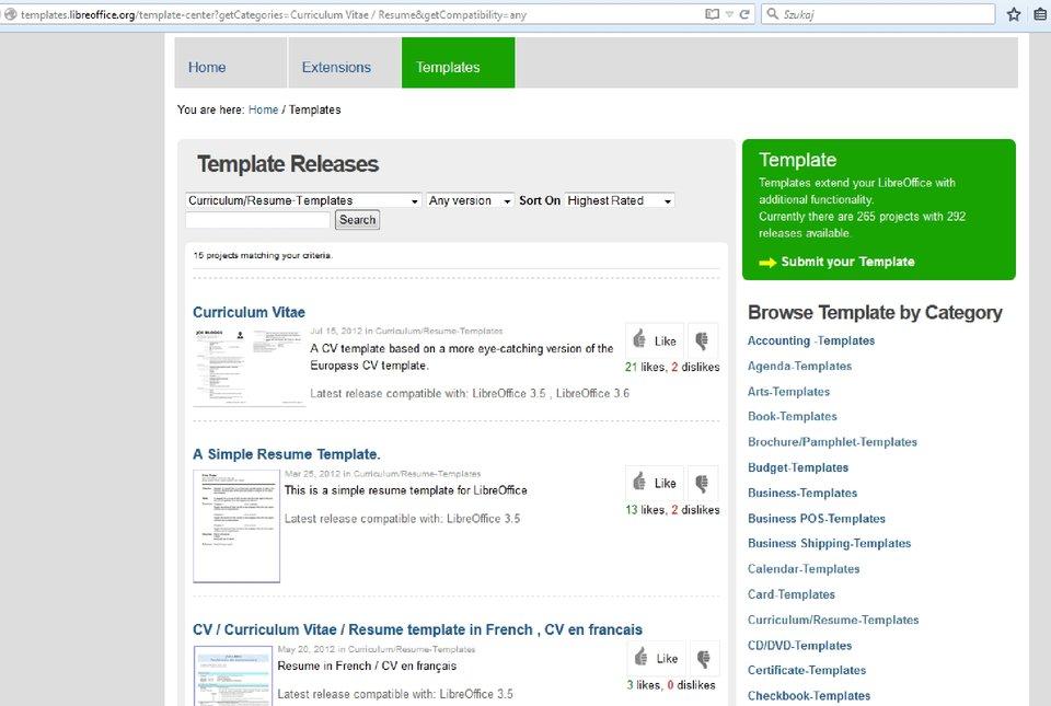 Slajd 3 galerii zrzutów okien procesu tworzenia dokumentu na podstawie szablonu wprogramie LibreOffice Writer