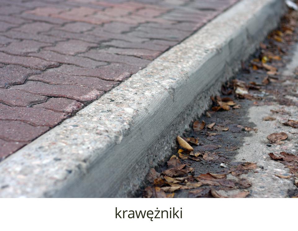 Zbliżenie krawężnika betonowego oddzielającego wyniesiony chodnik zkostki od jezdni asfaltowej.