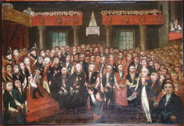Ogłoszenie Konstytucji 3 maja 1791 Źródło: Ogłoszenie Konstytucji 3 maja 1791, Olej na płótnie, domena publiczna.