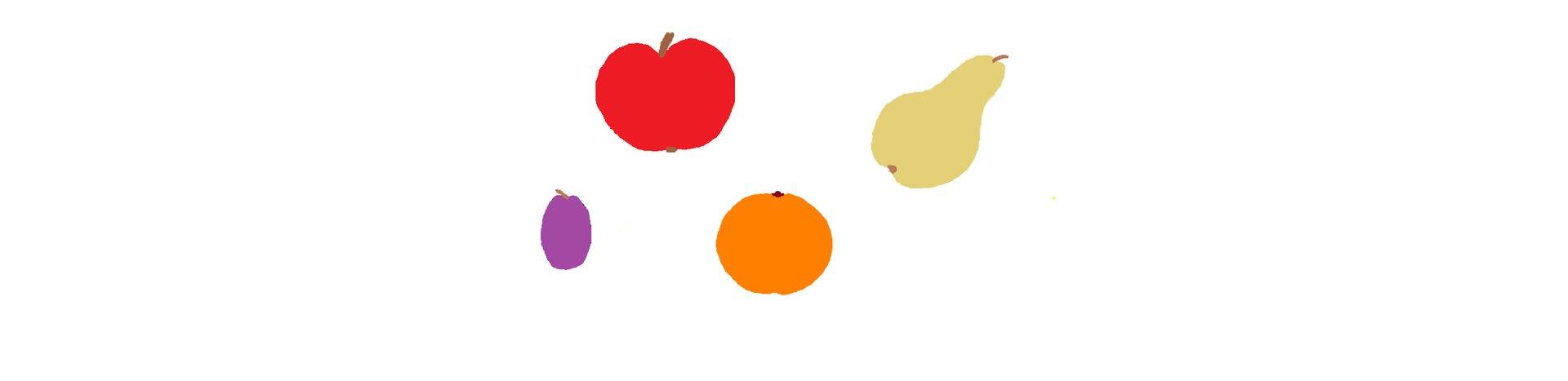 Ilustracja przedstawiająca owoce wypełnione kolorem